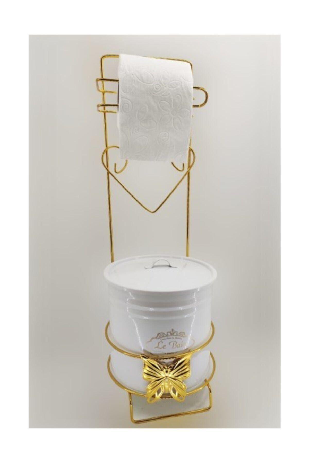 Gold Altın Beyaz  Ferforje Metal Tuvalet Kağıtlığı Wc Kovası Banyo Aksesuar Takımı