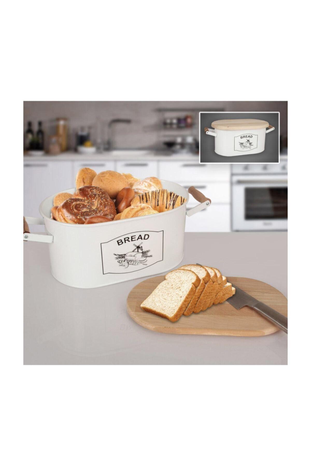 Kesme Tahtalı Metal Ekmek Kutusu