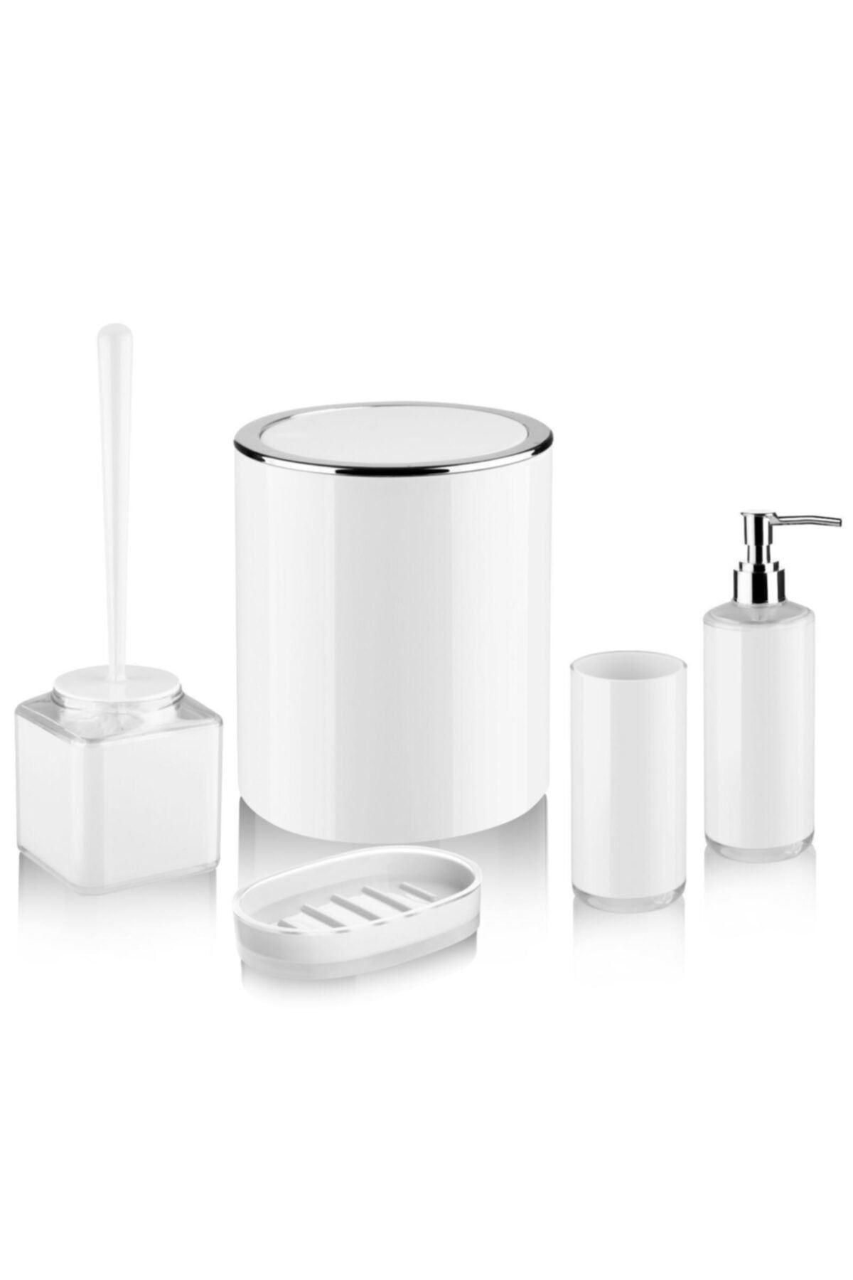 Kitchen Trend 5 Parça Akrilik  Beyaz Banyo Seti