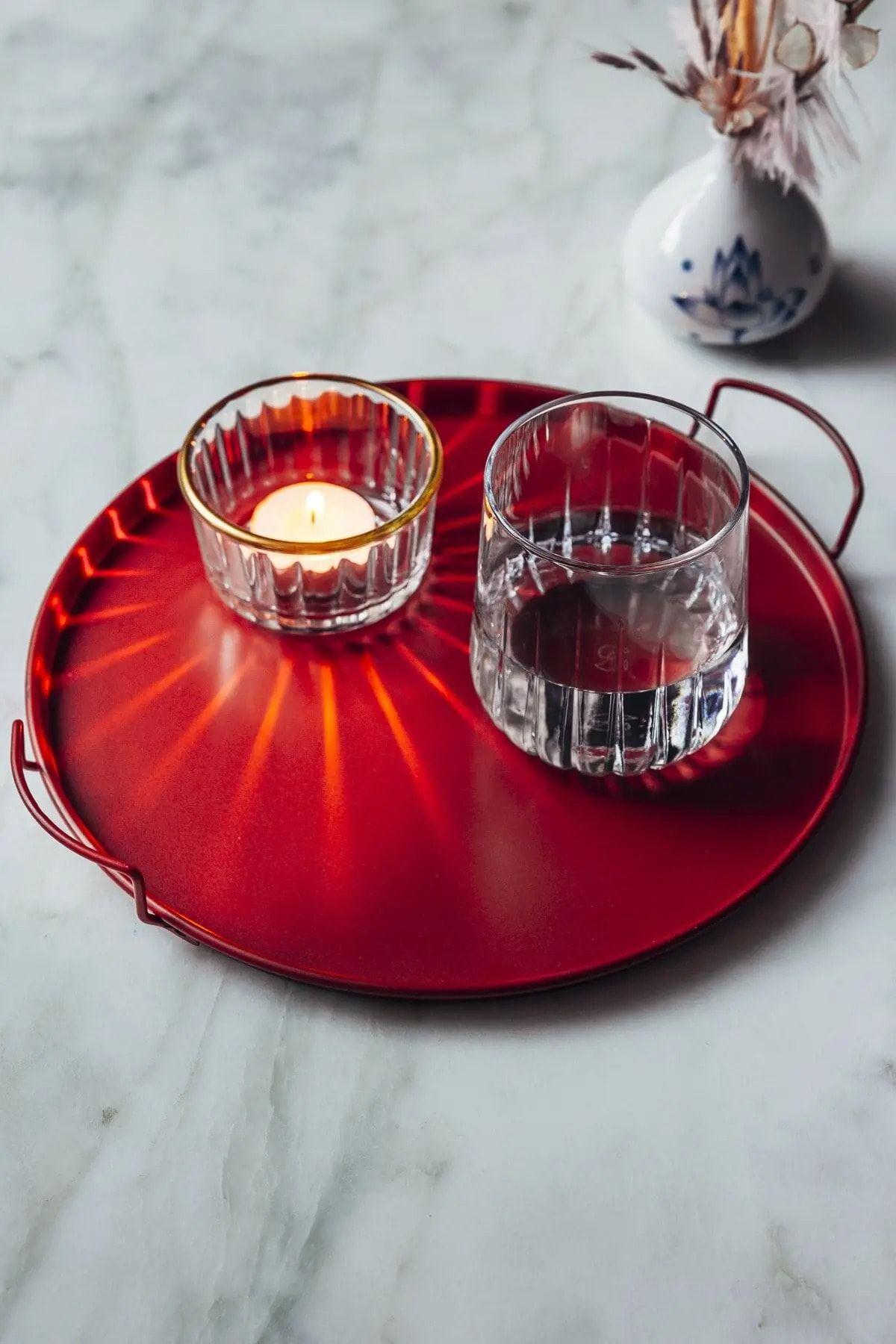 Metal Kırmızı Küçük Sunum Dekoratif Tepsi