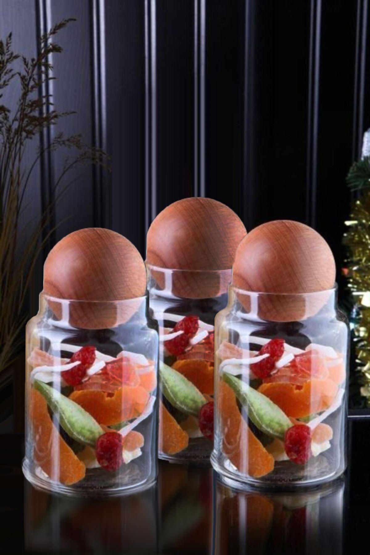 Kitchen Trend Ahşap Top Kapaklı 900 ML 3'lü Geometrik Cam Kavanoz Seti