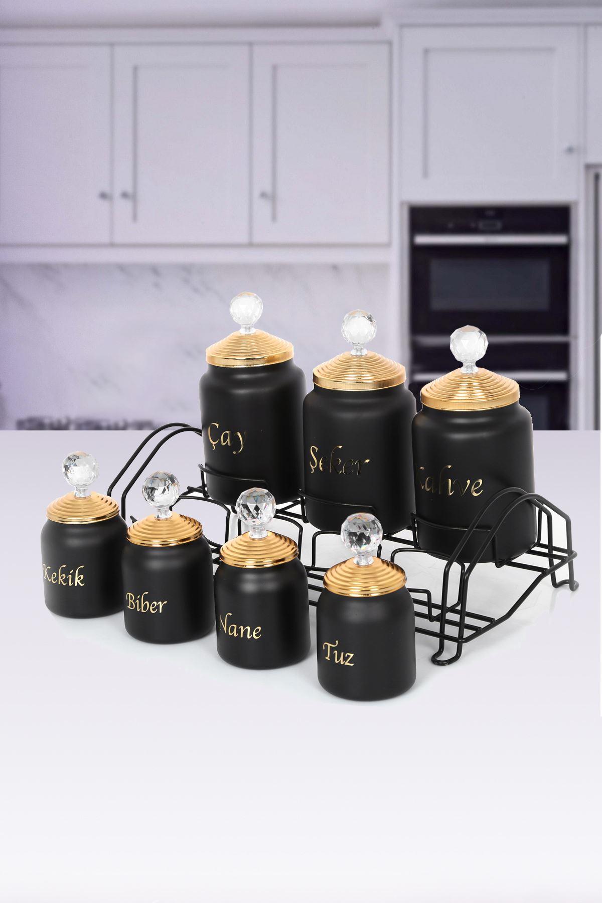Kitchen Trend 7 Li Standlı Türkçe Yazılı Cam Baharat Takımı