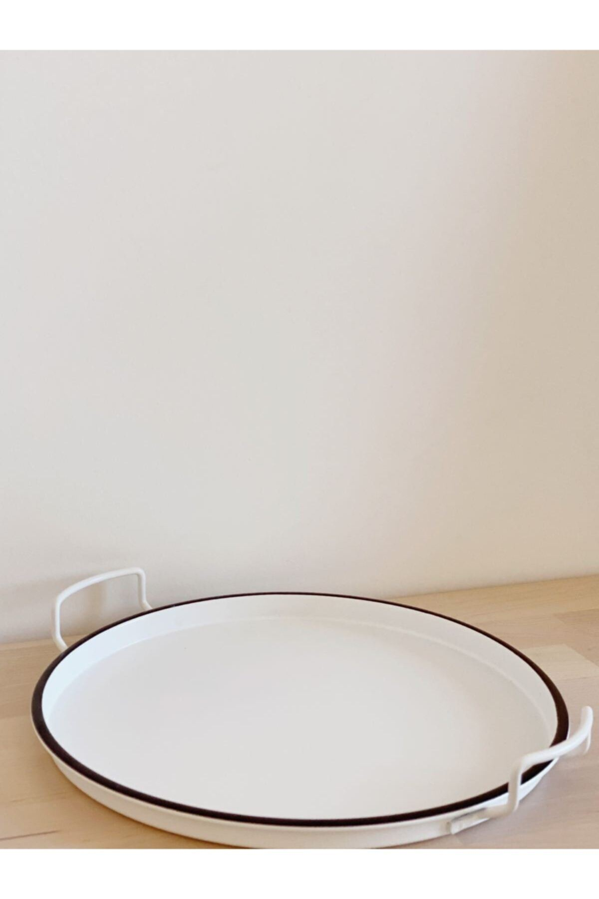 Kitchen Trend Country Tarzı 25 Cm Beyaz Dekoratif Tepsi