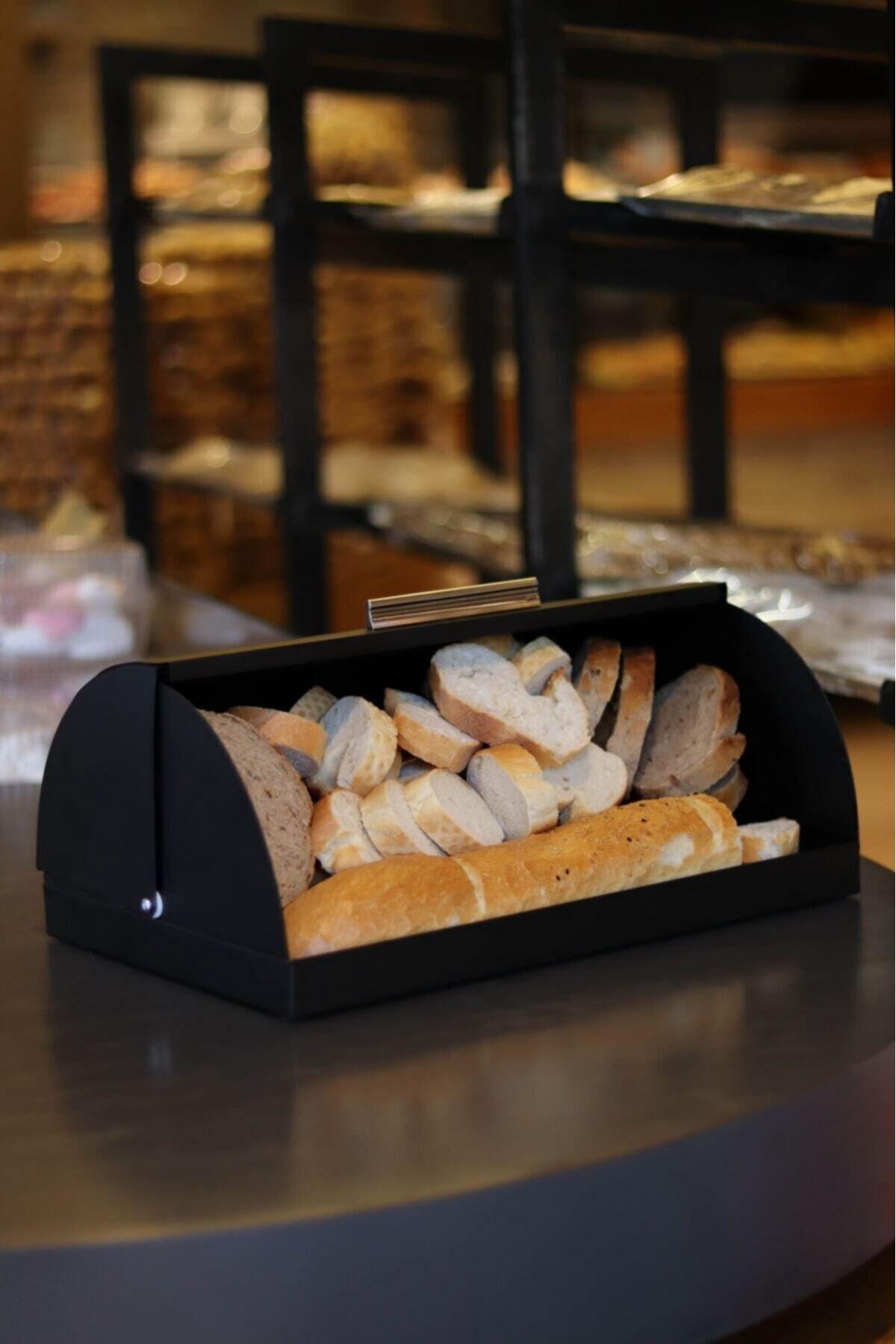 Kitchen Trend Metal Eskitme Siyah Ekmek Saklama Kutusu