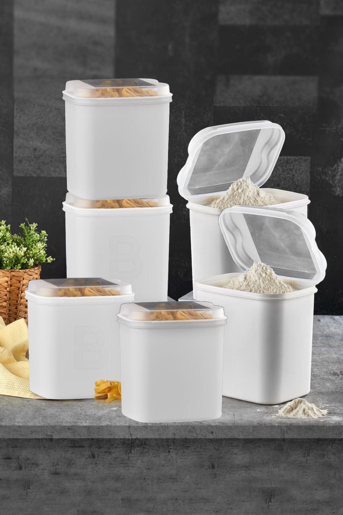 Kitchen Trend 6 LI Un ve Bakliyat Kabı 4,5 Litre Beyaz