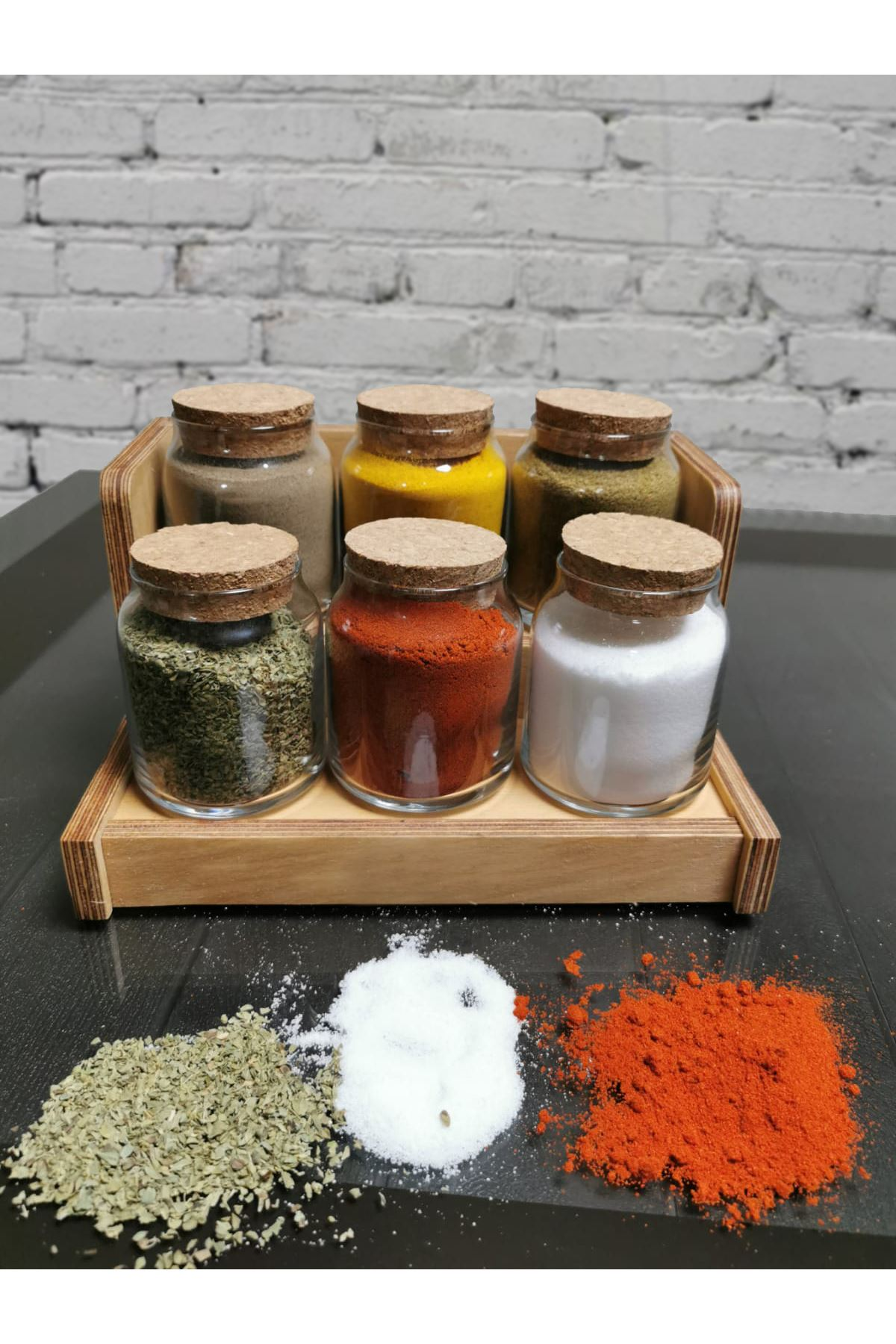 Kitchen Trend Ahşap Stand Mantar Kapaklı Cam Baharatlık Seti