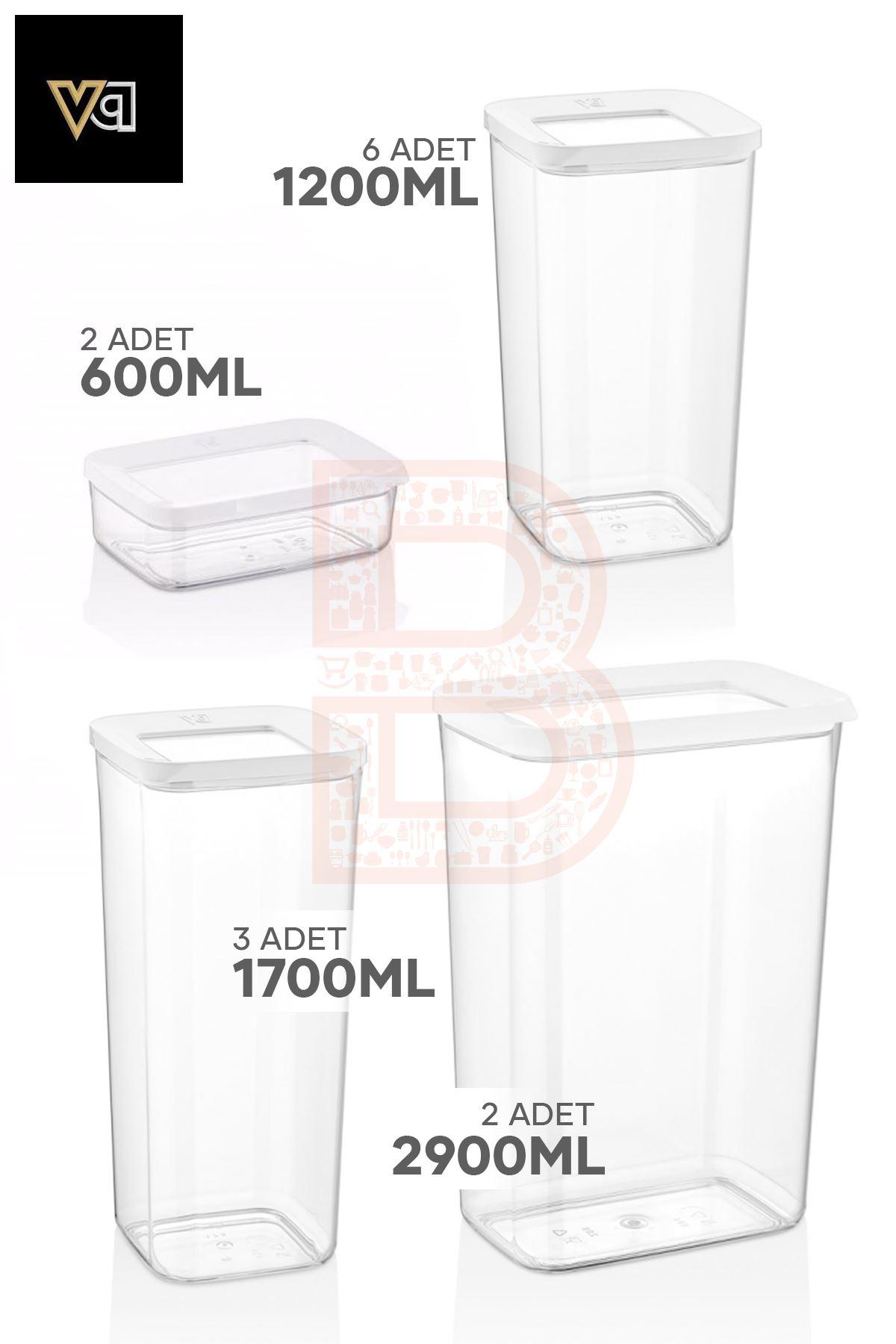 Vip Ahmet 13 Lü Saklama Seti + Kitchen Trend Tekerlekli Siyah Plastik Raf