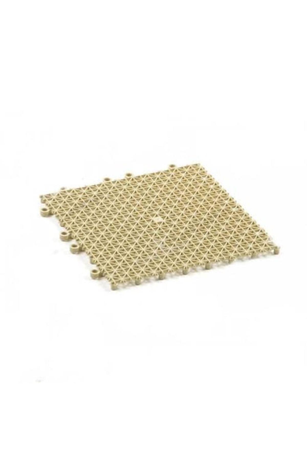 Bej Plastik Kırılmaz Yer Karosu Zemin Kaplaması 1m2 ( 16 Adet ) 25 X 25 cm