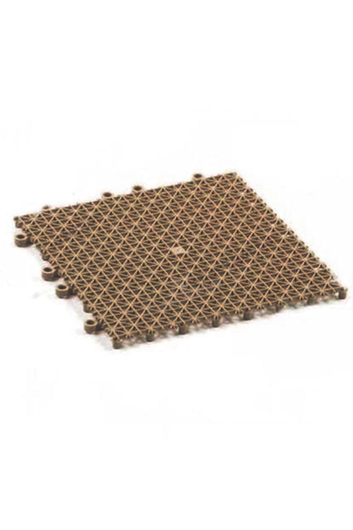 Koyu Kahve Plastik Kırılmaz Yer Karosu Zemin Kaplaması 1m2 ( 16 Adet ) 25 X 25 cm